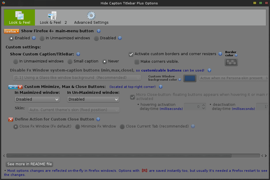 Hide Caption Titlebar Plus - config - 1