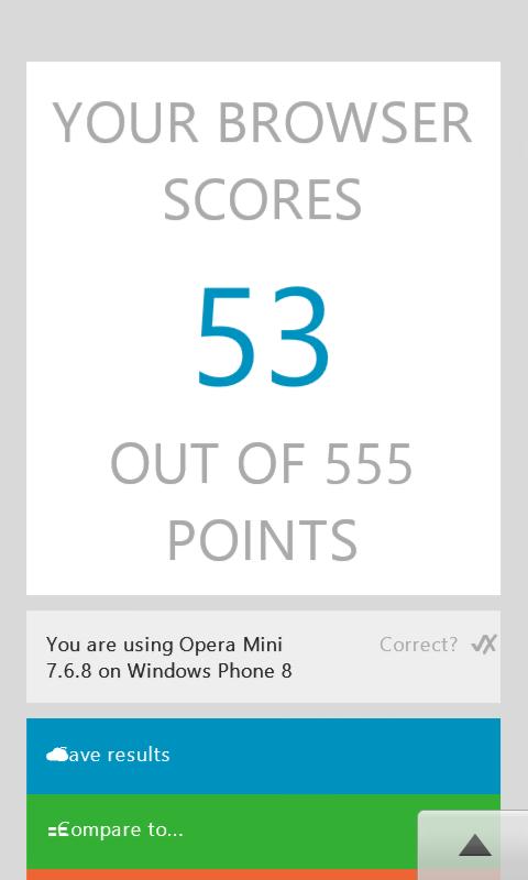 HTML5TEST na Operze (to jest WinPhone 8.1 - przeglądarka przedstawia się błędnie)