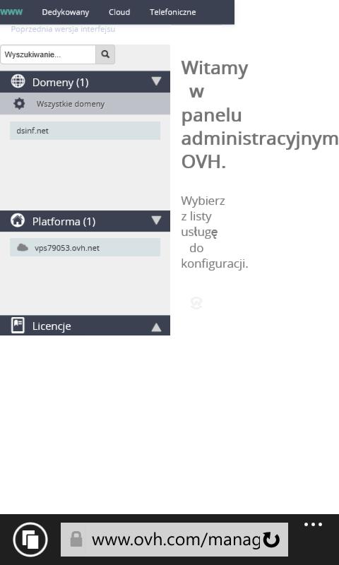 Panel OVH na IE11