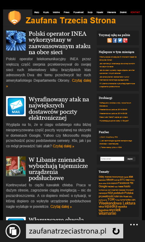Zaufana Trzecia Strona na IE11 (żądanie wersji mobilnej).